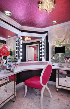 Glam Room – Home Design Idea Dream Rooms, Dream Bedroom, My New Room, My Room, Sala Glam, Vanity Room, Vanity Area, Vanity Tables, Vanity Mirrors