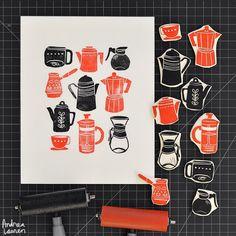 Andrea Lauren - Coffee - Original Blockprint by Andrea Lauren Coffee Artwork, Linoleum Block Printing, Andrea Lauren, Stamp Carving, Handmade Stamps, Coffee Drawing, Stamp Printing, Linocut Prints, Gravure
