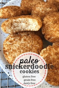 This easy recipe for Paleo Snickerdoodle Cookies is ready in thirty minutes or less! They are also vegan, made gluten free, and no refined sugar. Recipes for 1 Paleo Snickerdoodle Cookies Galletas Paleo, Fun Easy Recipes, Whole Food Recipes, Dessert Recipes, Free Recipes, Easy Gluten Free Meals, Dairy Free Gluten Free Desserts, Gluten Free Grains, Gluten Free Desserts