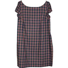 Monkey on My Shoulder Sweet Colleen Scottish Checks Short Sleeve Loose... ($73) ❤ liked on Polyvore featuring dresses, blue, checked dress, red loose dress, grunge dress, short-sleeve dresses and loose fitted dresses