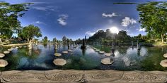 360 panoramic!  Tirtagangga (holy water of the Ganges in Balinese) water garden was built in 1948 by the King of Karangasem, Anak Agung Anglurah Ketut Karangasem. This water garden was constructed in a very unique architecture of Balinese and Chinese styles.