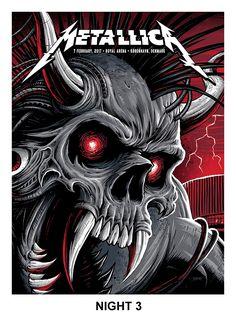 2017 Metallica - Copenhagen III Silkscreen Concert Poster by Brandon Heart Rock Posters, Band Posters, Concert Posters, Metallica Art, Metallica Concert, Metallica Metallica, Hard Rock, Heavy Metal Rock, Heavy Metal Music
