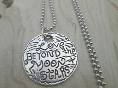 Love Beyond the Moon and Stars Necklace, Friendship Jewelry, Moon Necklace, Hand Stamped Wedding Gift, Anniversary Gift, Gift for Mom