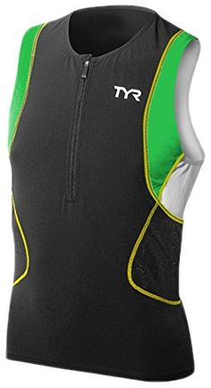 TYR Competitor Singlet Mens Top BlackGreenYellow L * Click image for more details.(This is an Amazon affiliate link)