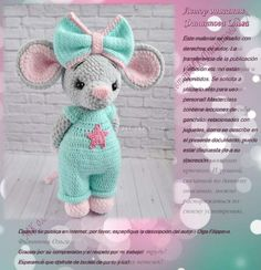 Crochet Animal Patterns, Stuffed Animal Patterns, Crochet Animals, Amigurumi Patterns, Crochet Mouse, Crochet Hats, Chrochet, Crochet Projects, Diy