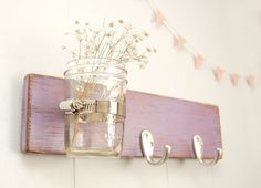 wall key rack wood mason jar  purple lilac  silver by OldNewAgain, $32.00   Love this color.