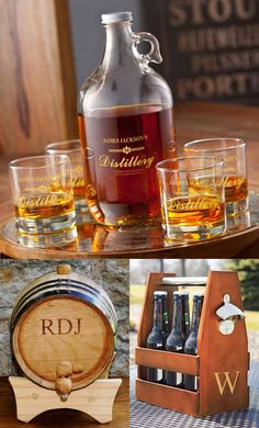 Home brewing of craft beers and cider is a popular and rewarding hobby. Great personalized custom glassware and bar gifts for the people on your Christmas gift list that have their own home brewery or a love for craft beer include growler and glassware sets, mini oak whiskey barrels and craft beer and cider bottle carriers with bottle opener.