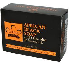 Nubian Heritage, African Black Soap Bar, 5 oz (141 g)