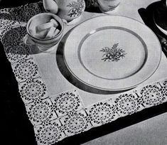 Tray Mat Motif Edging crochet pattern from Old and New Favorites Doilies, originally published by Clark's ONT J Coats, Book 217, in 1944.