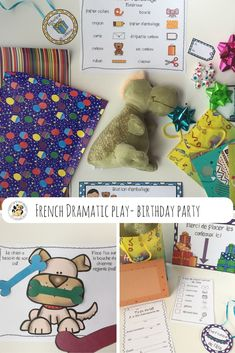 This set includes everything you need to set up a birthday party themed dramatic play center en Français! This dramatic play center provides many opportunities for reading, writing, oral communication, social interaction and number recognition. Dramatic Play Centers, French Resources, Number Recognition, Play Centre, Teaching Materials, Learn French, Learning Centers, Teacher Resources, Dinosaur Stuffed Animal