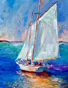 Top Hand Painted Abstract the Boat Sailling in the Sea Landscape Handmade Modern. Top Hand Painted Abstract the Boat Sailling in the Sea Landscape Handmade Modern Knife Seascape Canvas Oil Painting Paintings I Love, Seascape Paintings, Oil Painting On Canvas, Landscape Paintings, Boat Art, Nautical Art, Oeuvre D'art, Art Oil, Painting Inspiration