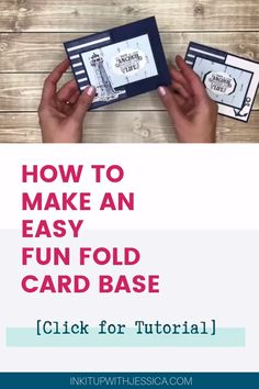 How To Make An Easy Fun Fold Card Base [Video Tutorial] - Want to make fun fold cards but think they are too complicated? This is the EASIEST Fun Fold Card B - Card Making Templates, Card Making Tips, Card Making Tutorials, Card Making Techniques, Making Ideas, Making Cards, How To Make Cards, Fun Fold Cards, Folded Cards