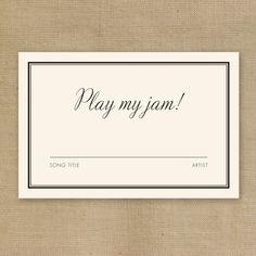Play what your guests want to hear! | See everything you should include in your #wedding invitations here: http://www.mywedding.com/articles/wedding-invitation-enclosures/