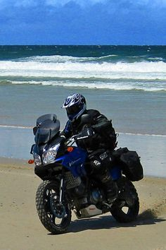 On the beach Vstrom 1000, Motorcycle Adventure, Motorcycle Touring, Biker Gear, Dual Sport, Street Bikes, Bike Trails, My Ride, Cool Bikes