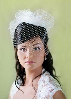 Wedding hair styles: bird cage veil with loose curls  Hair by Rhonda Birlew of Blush Studios