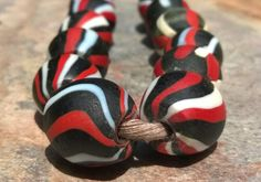 African Glass Beads10 Glass Beads Glass Stripe by RedEarthBeads