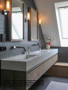 Farmhouse by Piet-Jan van den Kommer - Piet-Jan van den Kommer Laundry In Bathroom, Bathroom Style, Bathroom Furniture, Bathroom Renos, Home, Attic Bathroom, Bathroom Interior, Modern Bathroom, Loft Bathroom