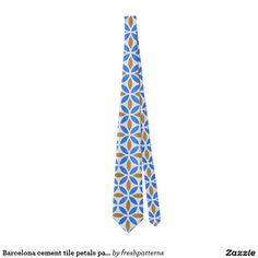 Barcelona cement tile petals pattern tie