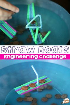 A fun and easy STEM challenge for kids. See how many pennies a straw boat can carry before it sinks in this awesome straw boats engineering challenge. Perfect STEM activity for homeschool or in the classroom for kids in first grade, second grade, and thir Stem Science, Science Experiments Kids, Science For Kids, Steam Activities, Science Activities, Activities For Kids, Camping Activities, Science Books, Computer Science