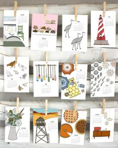 This year marks the seventh year in an annual tradition: My 2017 Illustrated Calendar is now available! Get ready to welcome the new year with twelve months of illustrated goodness. Each month, January 2017 through December 2017, features a different hand-drawn illustration appropriate to the season. I make my drawings by hand in pen and ink or pencil and then add color digitally. Size: 7.5 x 5  - Printed on beautifully textured, bright white linen card stock - A simple metal clip is…
