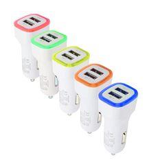 Estilo de coche usb cargador de coche 3.1a dual led 2 adaptador de puerto para iphone/samsung/htc janu14 levert dropship