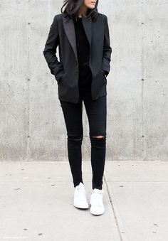 all black with ripped knees