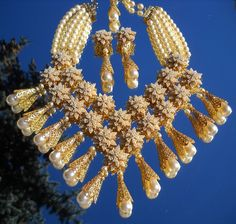 "Stanley Hagler ""Golden Pearl"" French Bib Necklace Demi Parure"