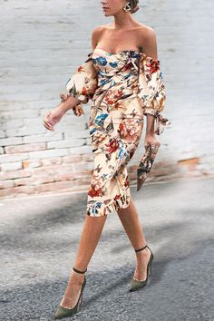 Sexy Off Shoulder Floral Printed Puff Sleeve Bodycon Dress Sexy . Read more The post Sexy Off Shoulder Floral Printed Puff Sleeve Bodycon Dress appeared first on How To Be Trendy. Bodycon Dress With Sleeves, Belted Shirt Dress, The Dress, Sleeve Dresses, Elegant Dresses, Sexy Dresses, Fashion Dresses, Woman Dresses, Amazing Dresses