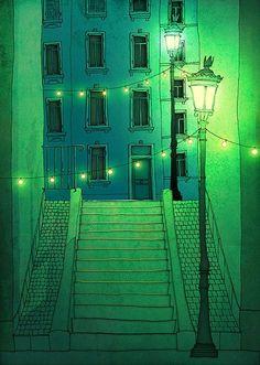 Paris illustration Night walking Paris por tubidu en Etsy