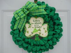 St. Patrick's day burlap wreath St Patrick's by ChloesCraftCloset