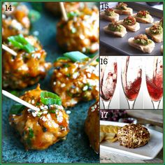 25 tapas party recipe ideas on Healthy Seasonal Recipes via @Katie Webster | hoisin glazed turkey meatballs, swiss avocado and bacon toasts, champagne cocktail, pomegranate cheese ball
