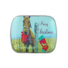 Mistletoe horse: Just Add a name Jelly Belly Tins