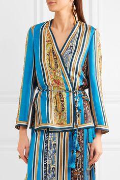 Etro | Printed silk-satin wrap jacket | NET-A-PORTER.COM