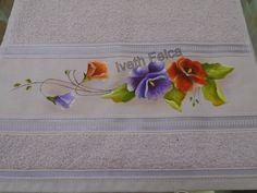 Toalha de lavabo - pintura em tecido.