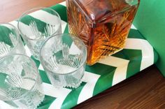 Chevron green bar tray - perfect for a St. Patrick's Day get together! #stpaddys