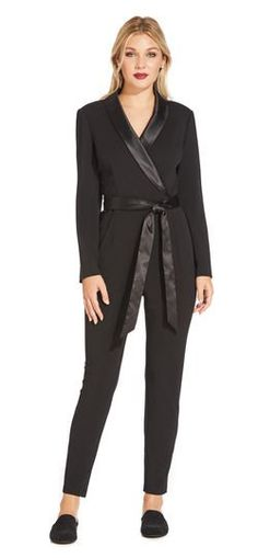 d0e51782dc63 Long Sleeve Crepe Jumpsuit with Tuxedo Collar. Adrianna Papell