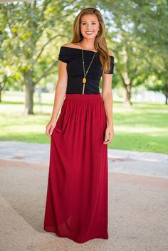 Flow My Way Maxi Skirt, Crimson