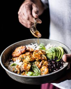 """4,405 Likes, 75 Comments - Tieghan (@halfbakedharvest) on Instagram: """"Honey Garlic Butter Shrimp in Coconut Milk..with fried plantains, black beans, rice AND avocado.…"""""""