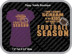 Football mom,It's Football Season, Glitter T shirts, rhinestone tshirts, Football Mom shirts, Spirit wear, cheer shirts, Bling T shirts by TippyToadsBoutique on Etsy https://www.etsy.com/listing/197294751/football-momits-football-season-glitter