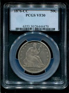 1876CC silver half dollar Seated liberty VF30 by passionatevision, $435.00