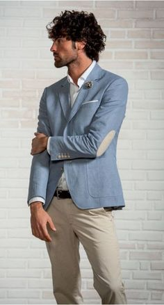 Unlined cotton and linen jacket with patches john barritt. All Italian fashion style.