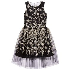 David Charles Girls Black & Gold Embroidered Tulle Dress at Childrensalon.com