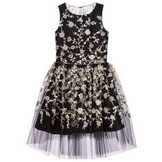 David Charles Girls Black & Gold Embroidered Tulle Dress at Childrensalon.com