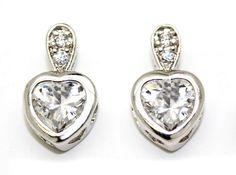 Women Cubic Zirconia Rhodium Plated Heart Shape Stud Earrings Butterfly Post #QueensJewelry #Stud  #Rhodium #Gold #Plated #Jewelry #Trends #Women #Fashion #Classic #18k #Beauty #PostBack #Butterfly #Comfort #Charm #Trendy #CZ#cubic zirconia #heart