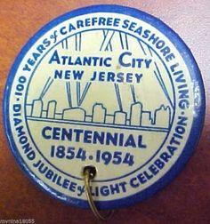 1954 Centennial Pin Atlantic City NJ Diamond Jubilee *