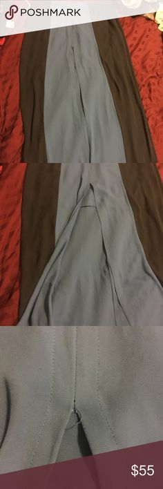 "BCBG maxi skirt Two tone skirt. Light blue and navy. Shirt skirt underneath, slit up the front. Approximately 42"" in length. Small spot where stitch has come undone, easy repair. Only available for a limited time. I want the clothes in my closet gone, if I can't sell them here I'm taking them somewhere else, so make me an offer! BCBG Skirts Maxi"
