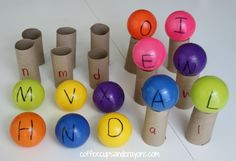 """Children match the uppercase letter """"scoop"""" ball, to the lowercase letter """"cone"""" and carry their """"ice cream"""" across the room to to pick up the next one."""