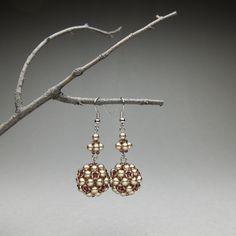Items similar to Beaded autumn earrings; sepia-sienna, dangle drop on Etsy How To Make Earrings, Hair Pins, Squirrel, Seed Beads, Unique Gifts, Dangles, Autumn, Pearls, Shop