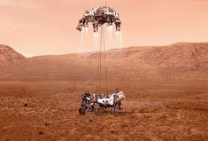 Fotografía cedida este miércoles por la Administración Nacional de Aeronáutica y el Espacio (NASA) que muestra una ilustración del rover Perseverance mientras aterriza de forma segura sobre la superficie de Marte. El viaje de casi siete meses de la Tierra a Marte de la sonda espacial Perseverance terminará este jueves con un desafiante intento de aterrizaje en el planeta rojo que nadie podrá seguir en tiempo real por la diferencia de comunicaciones de 11 minutos entre ambos planetas. EFE/ Emma H Mission Mars, Nasa Rover, Mars Landing, Les Satellites, Curiosity Rover, Mission Control, Nasa Missions, Planetary Science, Astronomy