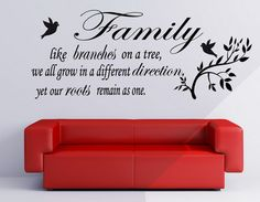 Birds and Family Love Quotes and Sayings Wall Decals Murals for Living Room Wall Decoration Art